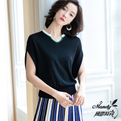 Mandy國際時尚 冰絲針織百搭撞色T恤上衣(2色) 【韓國服飾】