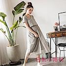 日系小媽咪孕婦裝-台灣製哺乳衣~網紗裙拼接素面長洋裝 (共二色)