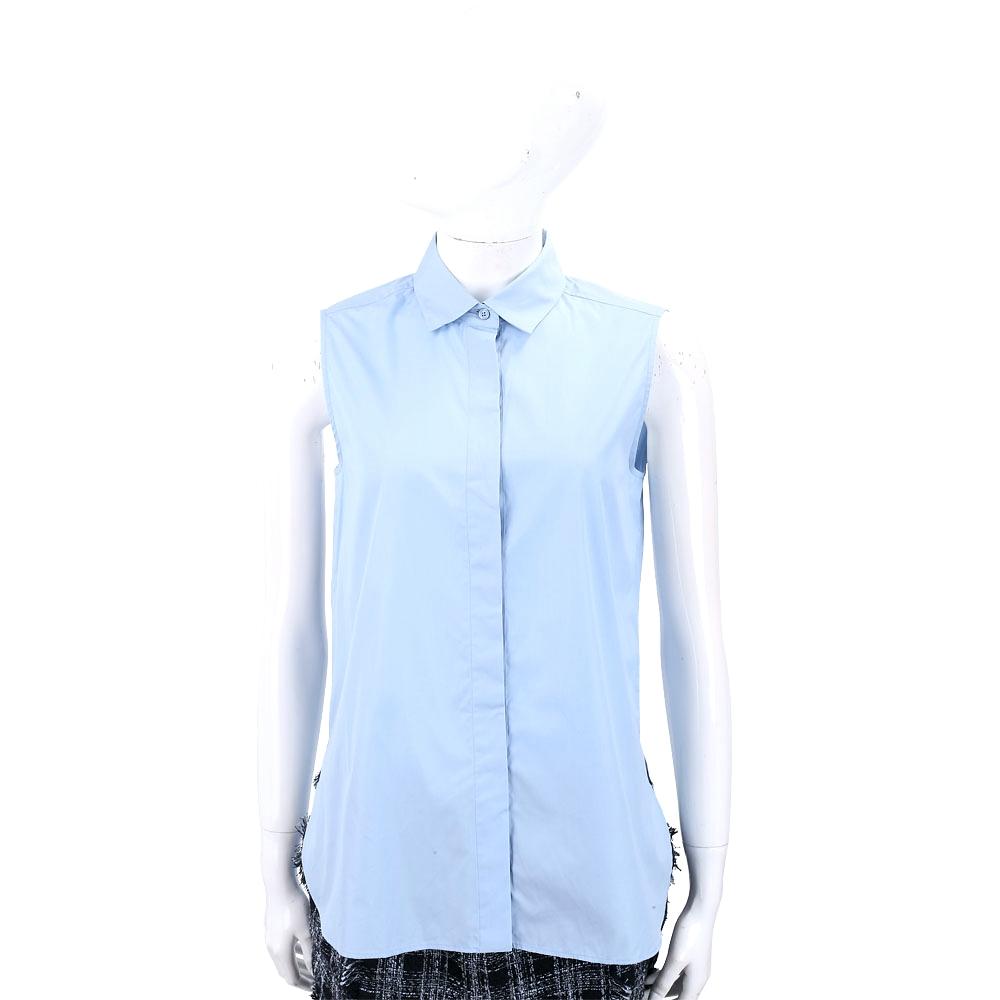 Max Mara-WEEKEND 刺繡蝴蝶純棉水藍色無袖襯衫