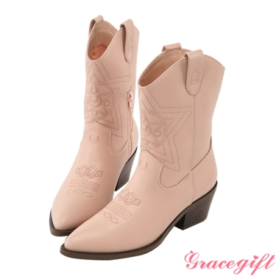 Grace gift-美戰變身器西部中跟靴 粉