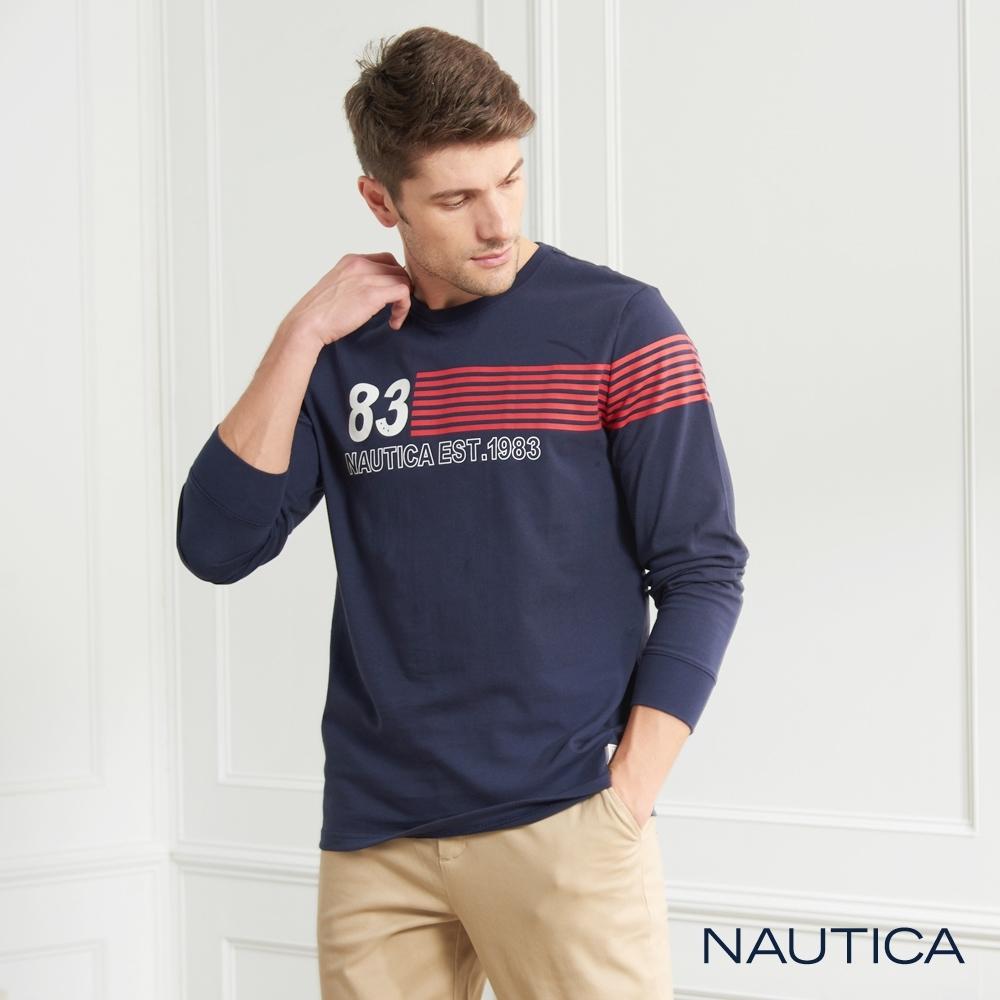 Nautica簡約圖騰純棉長袖TEE-深藍