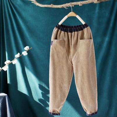 燈芯絨加絨休閒褲寬鬆拼接哈倫褲-設計所在