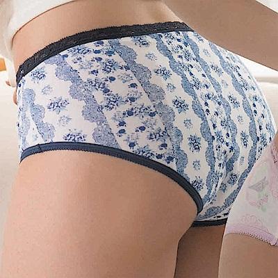 華歌爾-英倫花語印花M-LL 三角生理褲(藍)中低腰夜間型