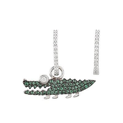 apm MONACO CROCO系列晶鑽鑲飾小鱷魚設計不對稱純銀耳環(綠)