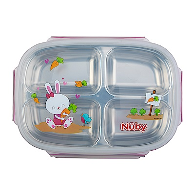 Nuby不鏽鋼分格餐盒_粉(12M+)