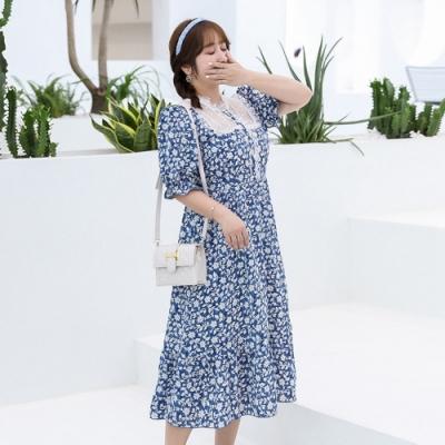 大碼復古優雅蕾絲拼接氣質青花連衣裙XL-4XL(共二色)-KVOLL