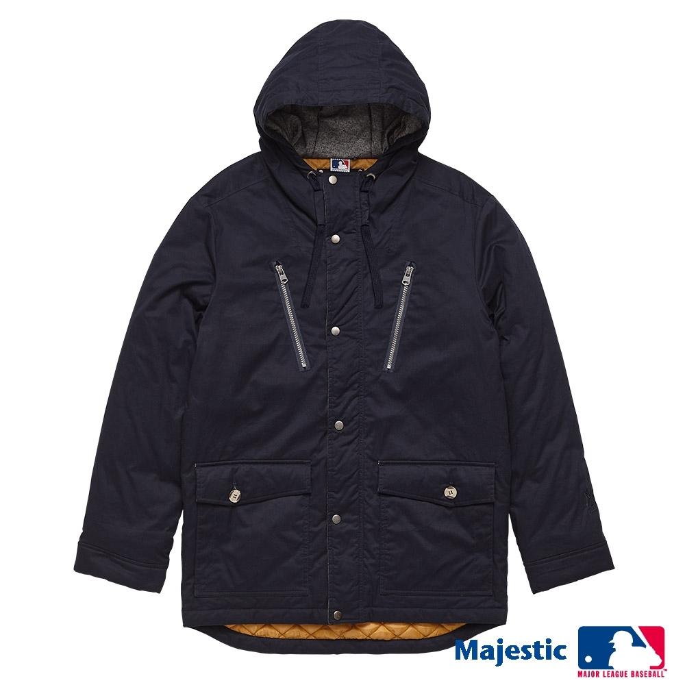 MLB-洋基隊LOGO繡花長版連帽厚外套-深藍 (男)