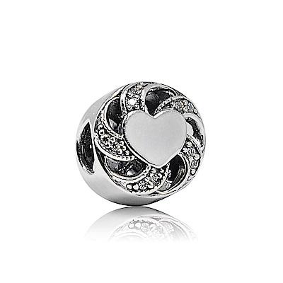 Pandora 潘朵拉 圓形纏繞鑲鋯緞帶愛心 純銀墜飾 串珠