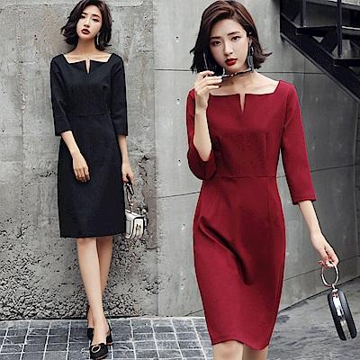 高雅簡約素色小V領洋裝連身裙M-2XL(共二色)-SZ