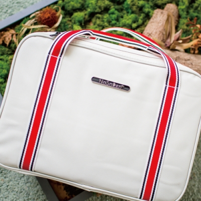 【NaSaDen】雪佛包 肩背/手提/穿套行李箱 相當一個16吋的行李箱(氣質白)
