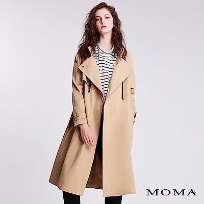 MOMA鬆緊腰帶連帽風衣外套
