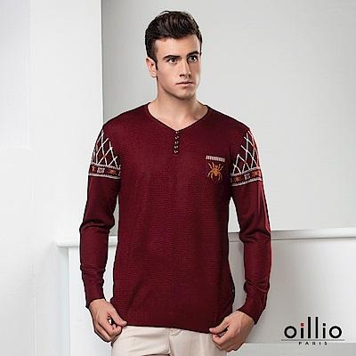 歐洲貴族oillio 長袖線衫 創意圖騰 V領款式 紅色