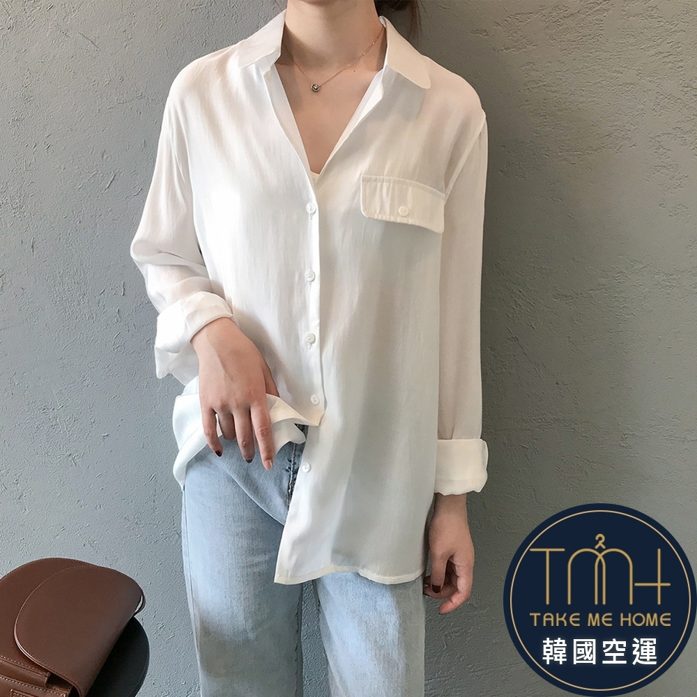 韓國空運 不規則下擺襯衫-3色-TMH