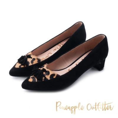Pineapple Outfitter-PRIELA 名媛風流蘇尖頭跟鞋-豹紋色