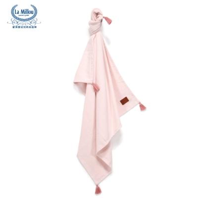 【La Millou】 Tender 100%純棉針織毯(民族風)93x100cm-草莓粉-嬰兒毯