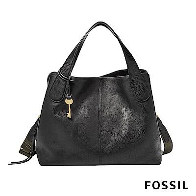FOSSIL MAYA 柔軟真皮多夾層手提/側背兩用包-黑色