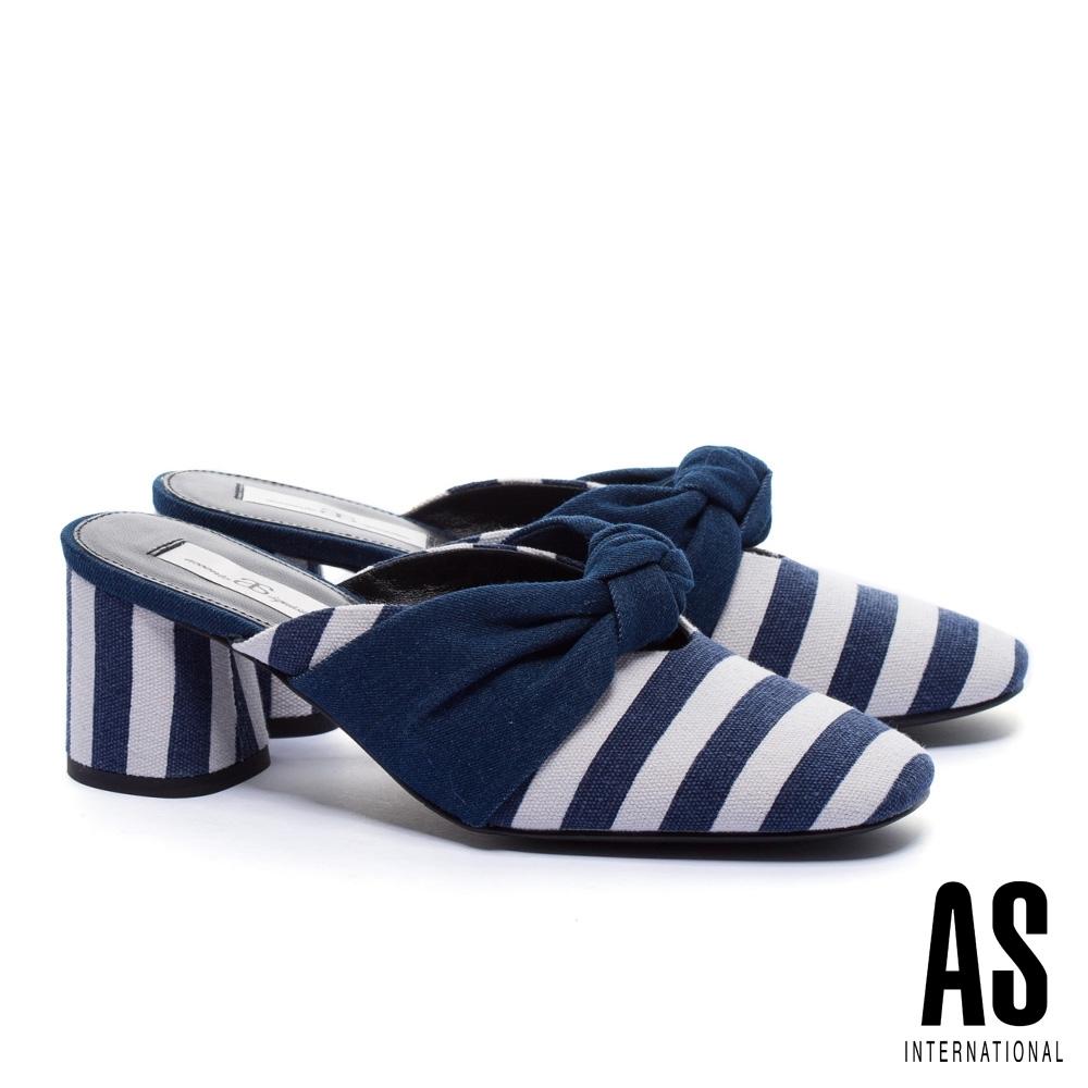 穆勒鞋 AS 時尚海軍風條紋扭結穆勒高跟拖鞋-藍