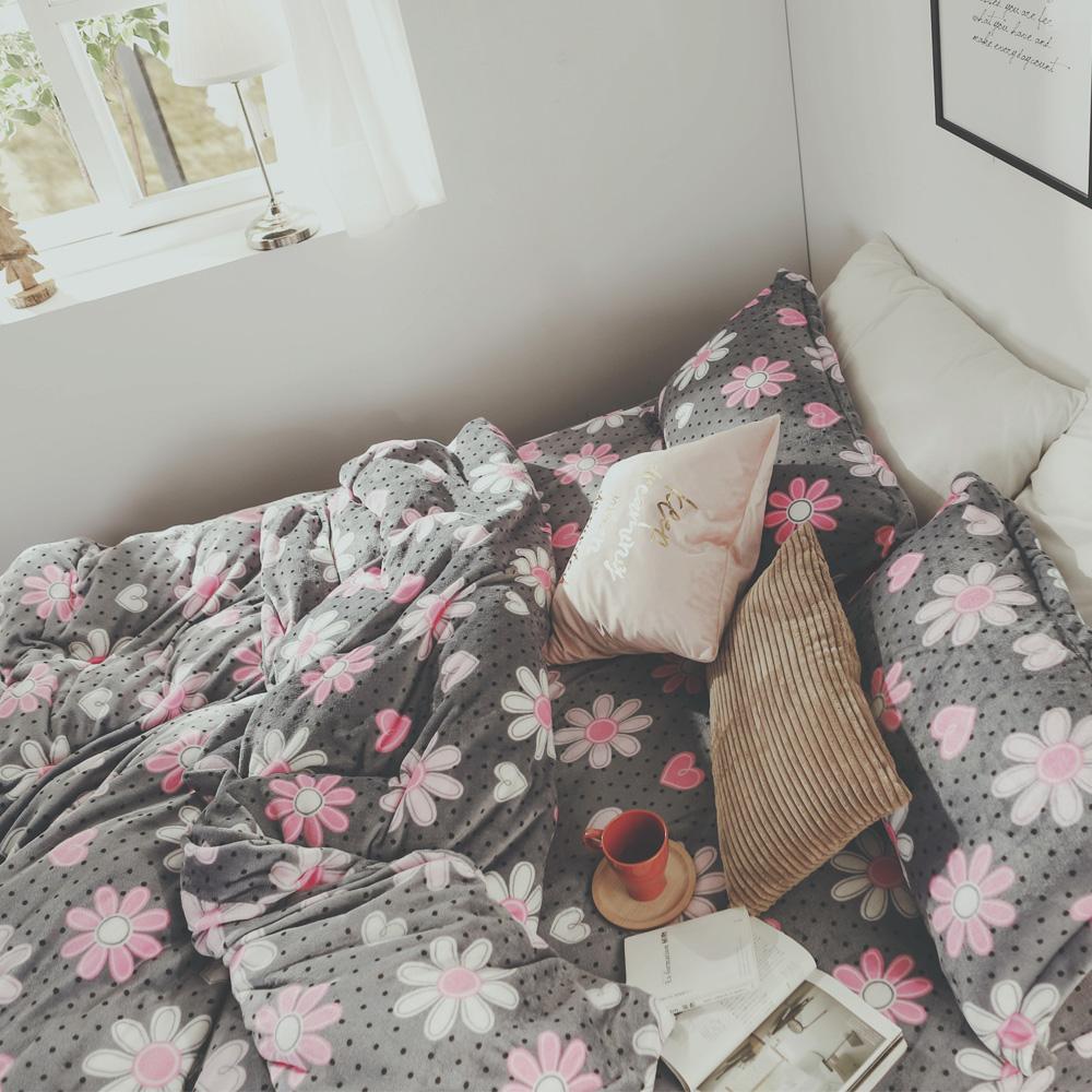 絲薇諾 心花開 加大四件式-法蘭絨 鋪棉加厚床包被套組