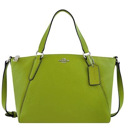 COACH 蘋果綠色皮革小型波士頓包