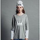 DADA SUPREME 皇冠八分袖運動假兩件上衣-女款-灰