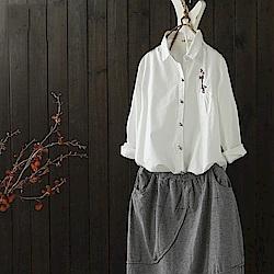 文藝簡約休閒彩扣純棉襯衫條紋開衫-設計所在