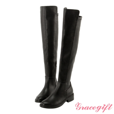 Grace gift X 許允樂-聯名完美比例平底膝上靴 黑
