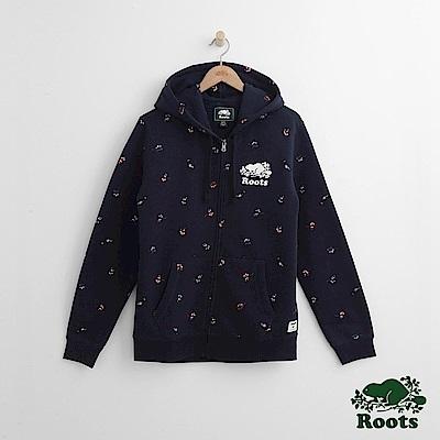 Roots 男裝-曲棍球滿版印花連帽外套-藍