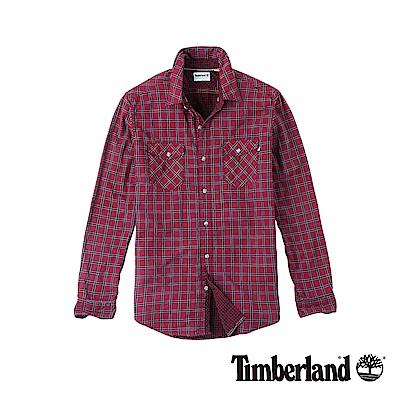 Timberland 男款藏紅色長袖雙層中格紋襯衫 | A1UMSH23