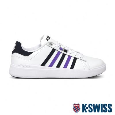 [零碼出清]K-SWISS Pershing Court 輕量時尚運動鞋-女-白/藍/紫