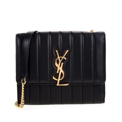 YSL 新款VICKY 金屬Logo直條紋縫線羊皮WOC斜背/肩背鍊包 (黑色/小款)