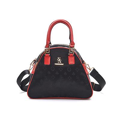 SUNFABLE - 米蘭假期x品牌印花多夾層手提兩用包 - 玫瑰紅