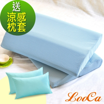(老爸超值組)LooCa 除臭涼爽-老爸特愛超大枕-2入+日本瞬涼冰絲枕套2入