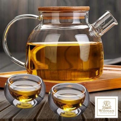 英國WILMAX 日式茶濾短嘴竹蓋把手耐熱玻璃壼1000ML附雙層耐熱玻璃杯2入250ML