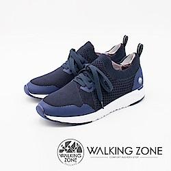WALKING ZONE 洞感服貼設計 運動慢跑休閒女鞋-藍(另有黑)