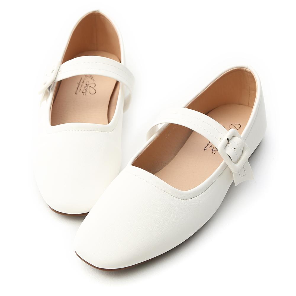 D+AF 樂活女孩.素面方頭瑪莉珍平底鞋*白
