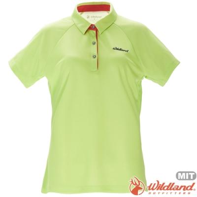 Wildland 荒野 0A71605-40芥墨黃 女涼感本布領短袖POLO衫