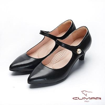 CUMAR文藝羅浮宮-經典復古單顆珍珠瑪莉珍高跟鞋-黑
