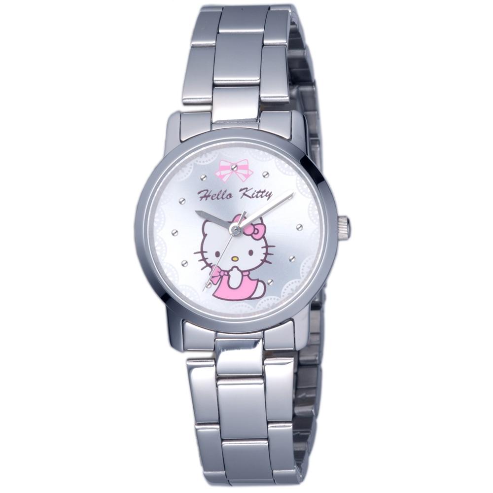 HELLO KITTY 凱蒂貓可愛滿分俏麗手錶-銀/30mm