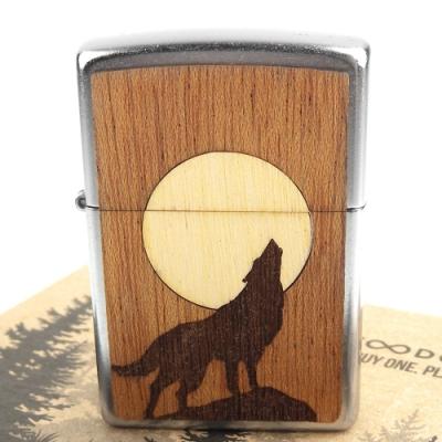 ZIPPO 美系~Howling Wolf-狼嚎月亮圖案-實木貼片打火機