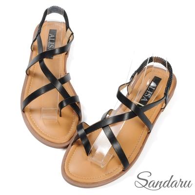 山打努SANDARU-涼鞋 交叉帶夾腳後鬆緊平底鞋-黑