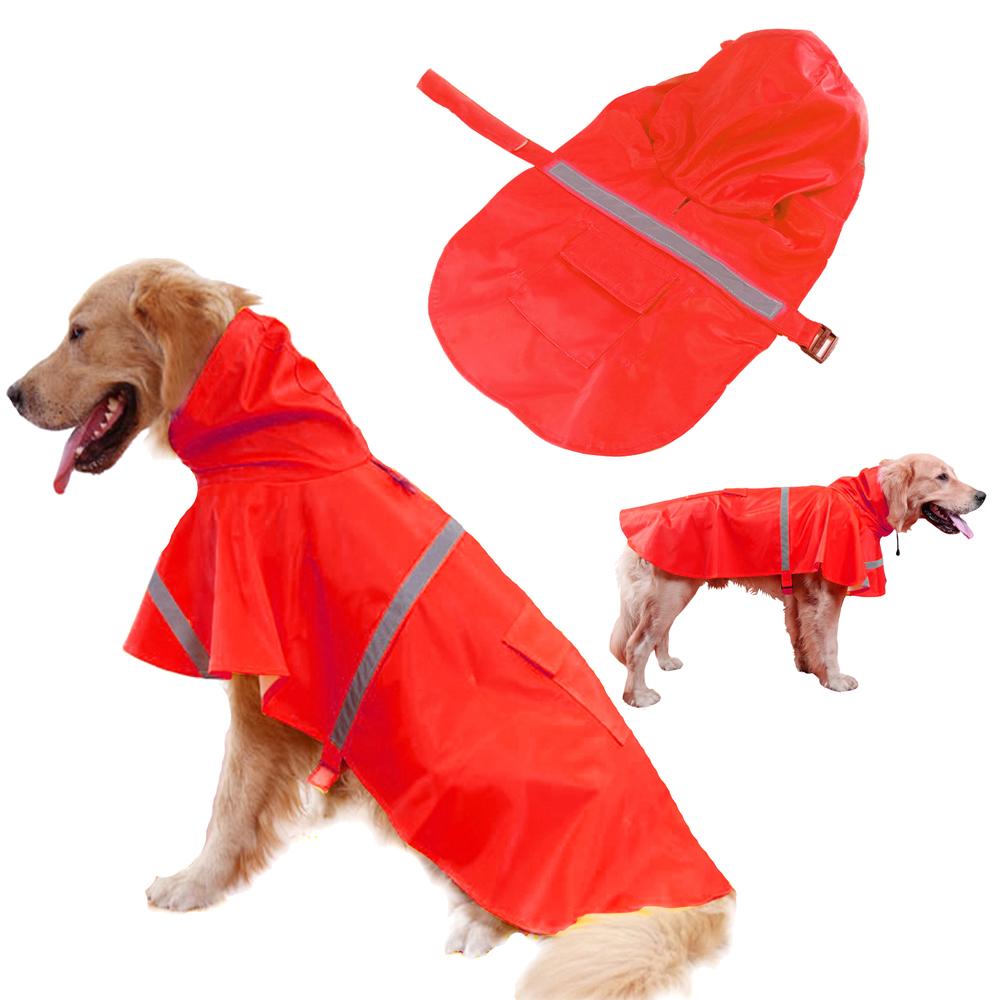 摩達客寵物系列-寵物大狗小狗透氣防水雨衣(紅色/反光條)