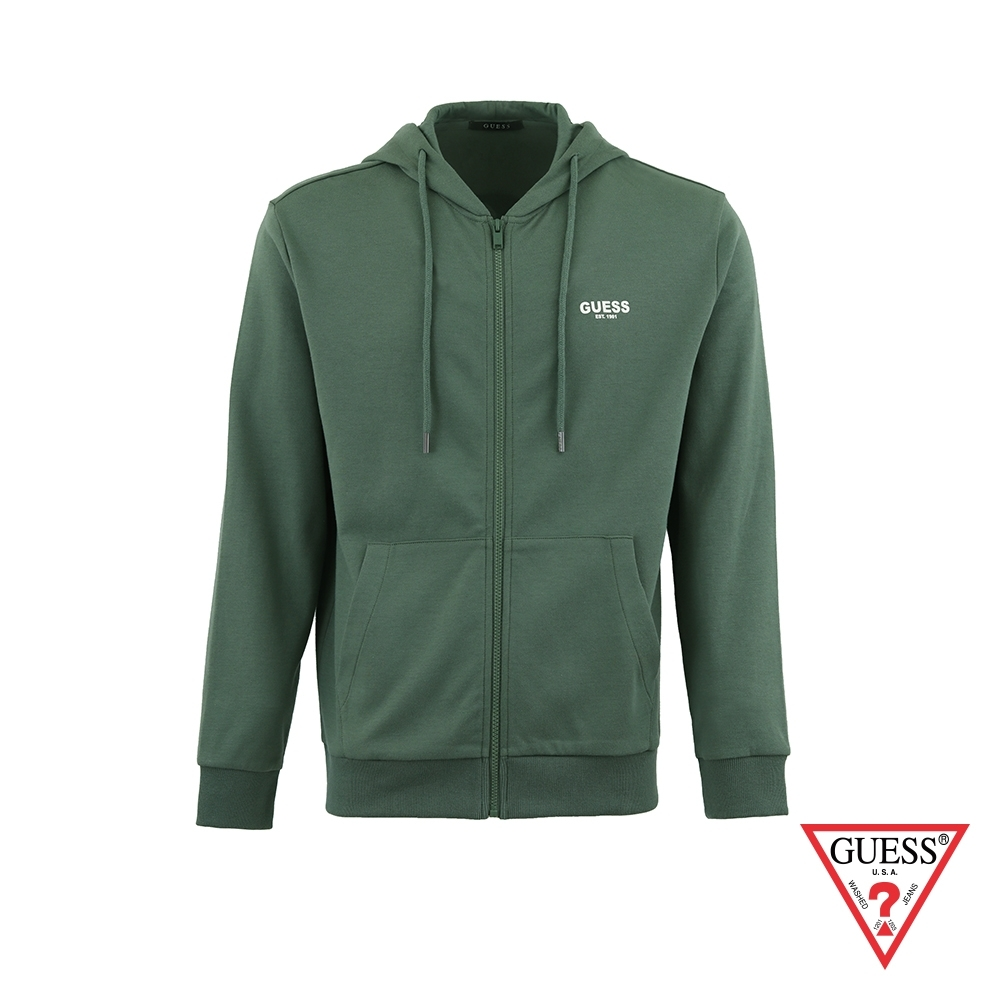 GUESS-男裝-純色前後字母LOGO連帽外套-綠 原價3990
