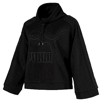 PUMA-女性流行系列Downtown刷毛圓領衫-黑色-亞規