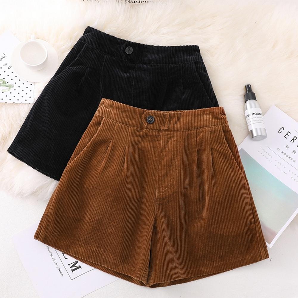 大碼純色燈心絨後鬆緊A字闊腿褲XL-5XL(共二色)-KVOLL