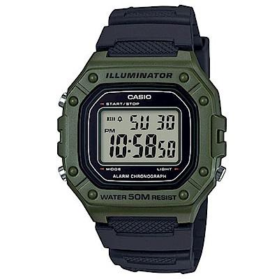 CASIO 復古風造型實用多色方款數位休閒錶-綠框X黑(W-218H-3A)/43.2mm