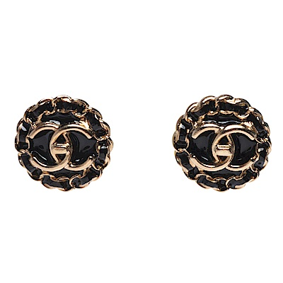 CHANEL 經典雙C LOGO轉釦鍊帶環圈造型穿式耳環(黑X金)