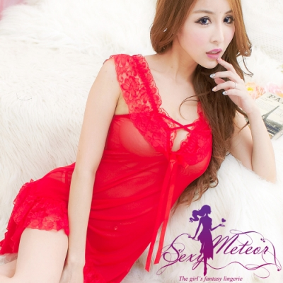 性感睡衣 全尺碼 交叉綁帶層次蕾絲二件式性感睡衣組(野艷紅) Sexy Meteor
