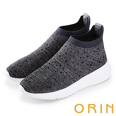 ORIN 潮流時尚風 彈性襪套水鑽休閒鞋-灰色