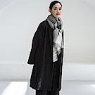 旅途原品_對望_原創設計亞麻羊毛提花保暖外套-黑色