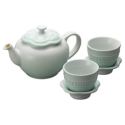 LE CREUSET瓷器花型茶具組(一壺二盞) (冰川綠)